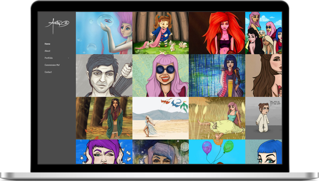 Webpage design for Art by Lexi