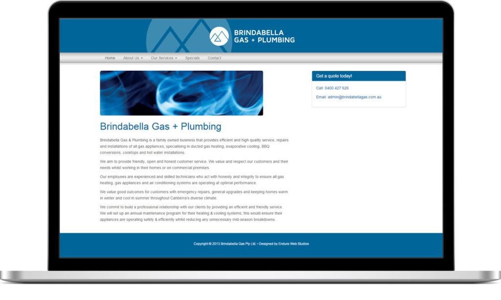 Website design for Brindabella Gas & Plumbging Services Canberra